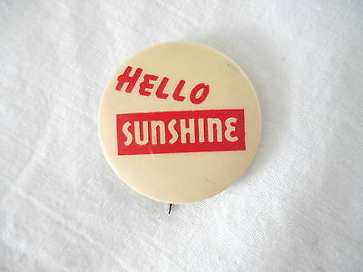 """hello Sunshine"" Celluloid Beer Pinback  - Reading, Pa"