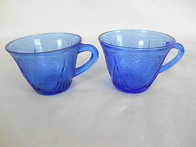2 Depression Glass BLUE ROYAL LACE CUPS - no Saucers
