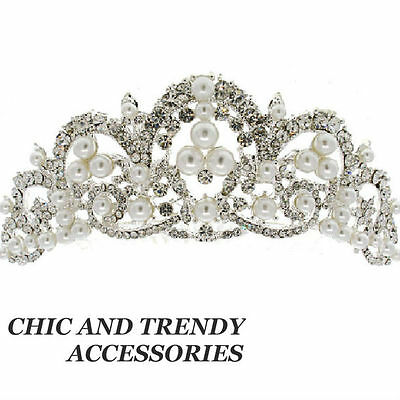 Clearance White Pearl Crystal Tiara Bridal Wedding Head Piece Hair Accessory