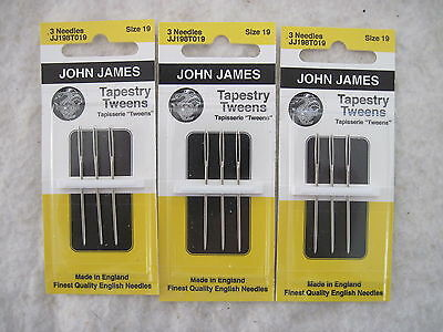 Lot of 3 cards (9 needles) John James TAPESTRY TWEENS Size 19 Needlepoint