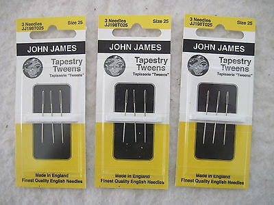 Lot of 3 cards (9 needles) John James TAPESTRY TWEENS Size 25 Needlepoint