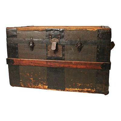 Vintage STEAMER TRUNK flat top coffee table toy box storage rustic distressed 88