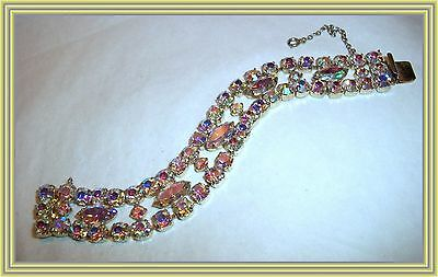 """Sherman YELLOW AB COLOR - .50"""" WIDE THREE ROW MARQUISE CRYSTAL BRACELET NR"""