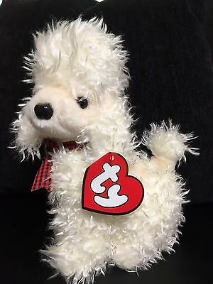 1994 TY CLASSIC Pierre the White Poodle Made In Korea Red Plaid Bow MWT RARE