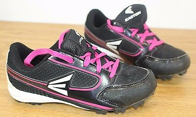 Womens Size 5 Easton Baseball Cleats Grip System Black & Pink Baseball Shoes