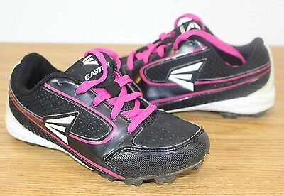 Womens Size 3 Easton Baseball Cleats Grip System Black & Pink Baseball Shoes