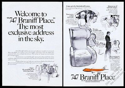 1970 Braniff International 747 plane First Class lounge etc vintage print ad
