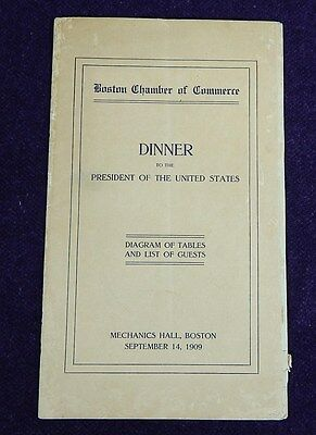 1909 Dinner to President of United States~TAFT~Diagram of tables & Guest List