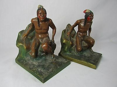 Antique ca.1930 Kronheim Oldenbusch Polychrome Bronze Native American Book Ends