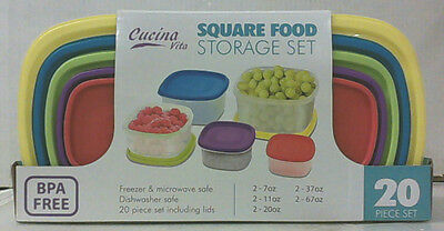NEW Cucina Vita 20 Piece Square Food Storage Set NV-03626