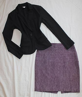 THE LIMITED Size 4 Women's Skirt Suit Black Purple PERFECT!