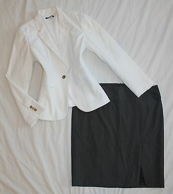 EXPRESS Size 12 Women's Skirt Suit Blue & White PERFECT!