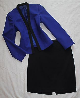 THE LIMITED Size 8 Women's Skirt Suit Blue & Black PERFECT!