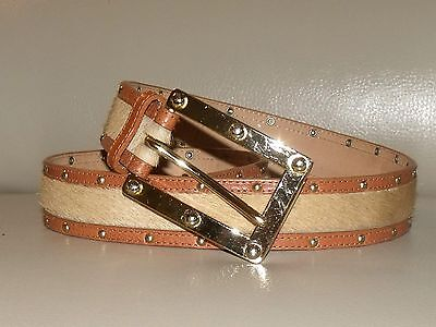 """MICHAEL KORS Brown Leather & Cow Fur Gold Stud Detail Belt 1 1/4"""" ~ Size Small"""