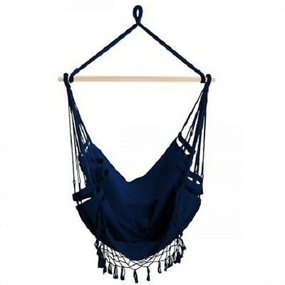NEW Indoor Outdoor Natural Timber Rail PolyCotton Hanging Hammock Swing Chair