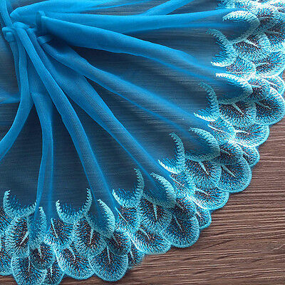 Embroidered Lace Tull Mesh Edge Trim Scalloped Ribbon Peacock Blue Sewing Craft