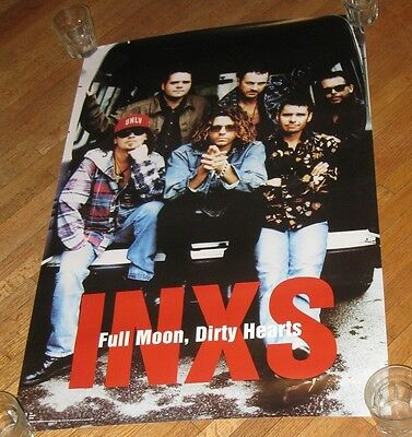 NOS VINTAGE 1993 INXS POSTER FULL MOON, DIRTY HEARTS ATLANTIC ALBUM NOS 36x24