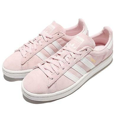 adidas Originals Campus W Pink White Suede Women Retro Shoes Sneakers BY9845