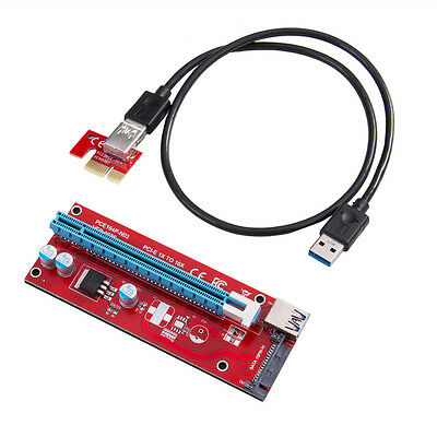 USB3.0 PCI-E Express 1x to 16x Extender Riser Card Adapter SATA Power Cable RT