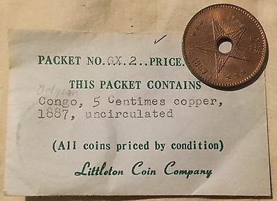 1887 BELGIAN CONGO 5 CENTIMES ESTATE COIN--LOOK VERY NICE lot- S8