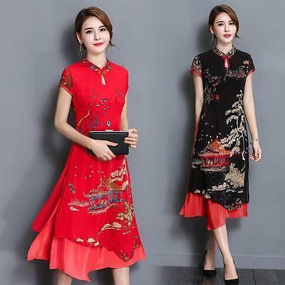Retro Women Floral Pattern False two Pieces Short Sleeve Cheongsam Dress Chic US