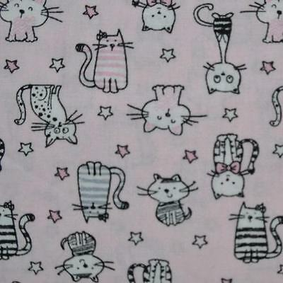 Tissu Cotonnade Pas Cher – Petits chats Fond rose – Collection Shining Kitty