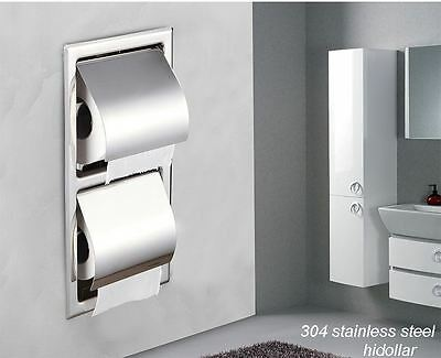 Dual Double 304 Stainless Steel Square Rectangle In Wall Toilet Roll Holder