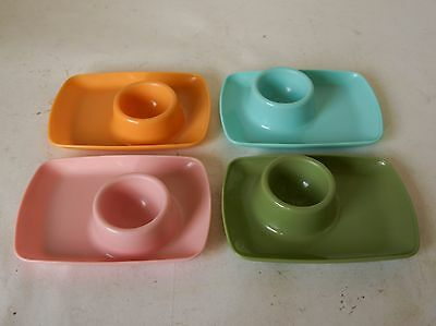 Vintage Retro 60s/70s TAMCO PLASTIC EGG CUPS Harlequin Colours SET OF FOUR