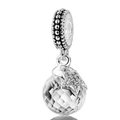 European Silver Charms Round Crystal Dangle Bead For 925 Sterling Bracelet Chain