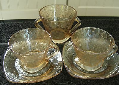 Vintage 2 Cups & Saucers & Sugar Bowl dainty pattern gold lustre pressed glass