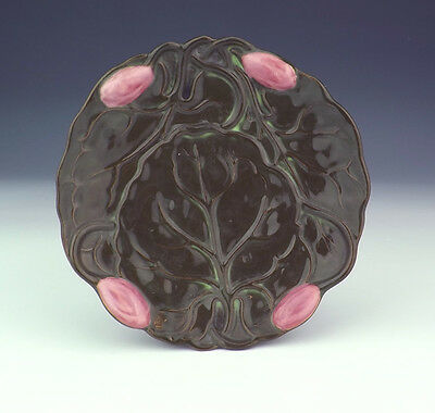 Antique Zsolnay Hungarian Pottery Lily Pad Formed Saucer Dish - Art Nouveau!