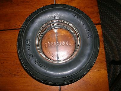 "Vintage Firestone Super Sports Rubber Tire Ashtray Embossed Glass ""firestone"""