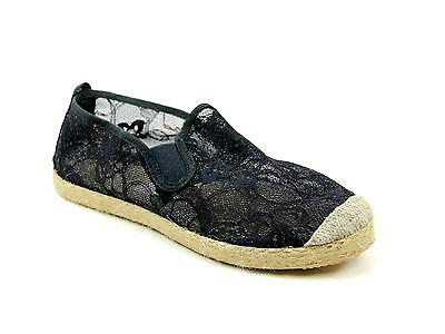 Womens Flossy Linares Black Lace Slip On Flat Espadrilles Summer Shoes Size 5.5