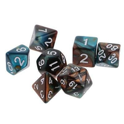 7 X Polyhedral Dice Set for Dungeons and Dragons D10 D8 D6 D4 Green Gold