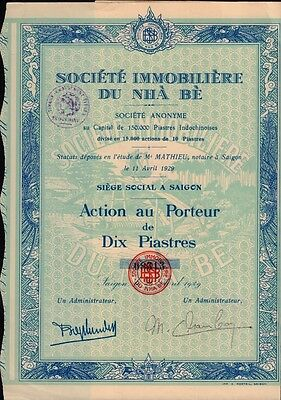 INDOCHINA  REAL ESTATE : Soc. Immobiliere du Nha Be Saigon Vietnam 1929