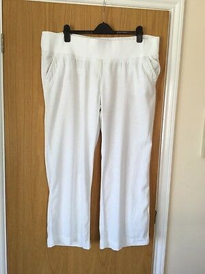 Maternity Trousers.  Size 20.  In White Linen Mix  By George