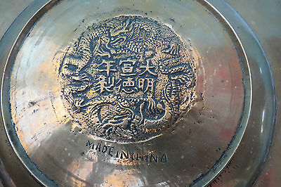 Vintage Engraved Brass Chinese Dragon Plate