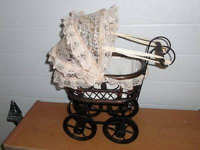 "Unmarked ~ Fabulous 15"" Tall Wicker Doll Carriage Buggy Stroller VGC"