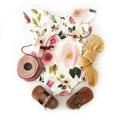 Newborn Infant Baby Girls Floral Romper Bodysuit Jumpsuit Outfits Clothes 0-24M
