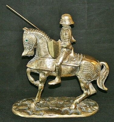 Vintage Rare Heavy Solid Brass KNIGHT ON HORSEBACK with Lance & Shield (5.6kg)