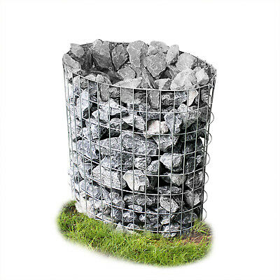 Gabion 80x75x45cm Oval Stone Basket Column Shaped Pillar Flowerpot Bucket