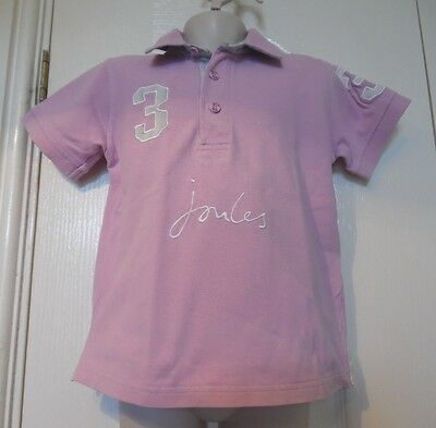 Joules Girl's 'beaufort' Pink Cotton Polo Shirt Age 4-5 Years