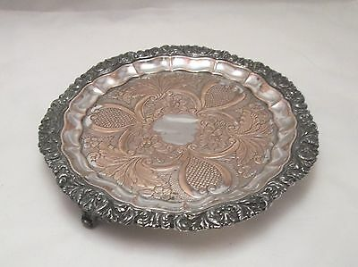 A Good Old Sheffield Plated Round Tray with Floral Detailing - c1820