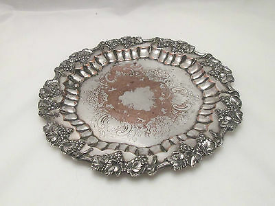 A Good Heavy Silver Plated Tray with Grape Vine Detail - c1900 - Barbour