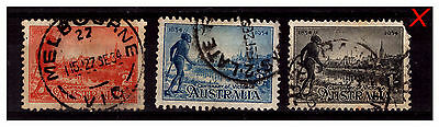 Australia 1934 Centenary Of Victoria Set. 3 Stamps. Fine Used.  #606