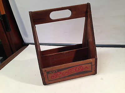 Pepsi Cola Case Wooden 6 Six Pack Bottle Carrier Double Dot