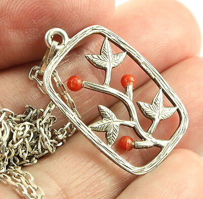 Vintage quality sterling silver faux pink coral pendant necklace