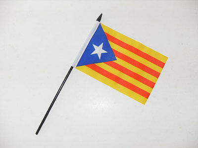 "ESTELADA BLAVA SMALL HAND WAVING FLAG 6"" x 4"" Catalonia Crafts Table Top Display"
