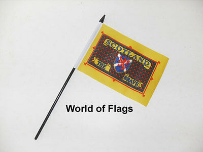 """SCOTLAND the BRAVE SMALL HAND WAVING FLAG 6"""" x 4"""" St Andrews Cross Table Desk"""