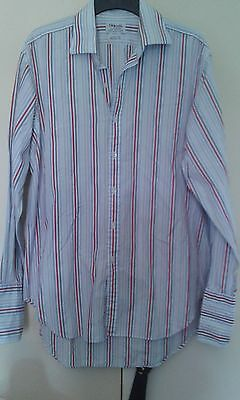 """T.m.lewin -Lewin 100 Regular Fit Red/blue/white /grey Striped Shirt-16.5""""-Fab"""